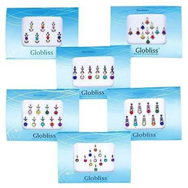 Laddu Gopal 6 Packs Combo Long n Small Bindis Forehead Sticker Colorful bindis Forehead Multicolor Bindis
