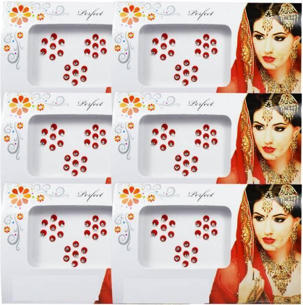 Laddu Gopal Fancy Multicolour Bindi Pack of 6 Forehead Red Bindis