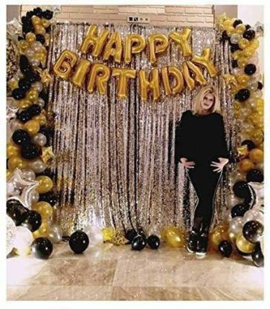 Saikara Collection Happy Birthday Foil Balloons Set with 2 Pcs Silver Fringe Curtain (3*6) + 30 Pcs Black/Gold/Silver Metallic Balloons Combo