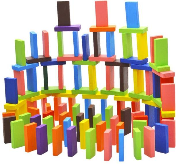 Mickleys 120 pcs 12 Color Wooden Dominos Blocks Set, Kids Game Educational Play Toy, Domino Racing Toy Game