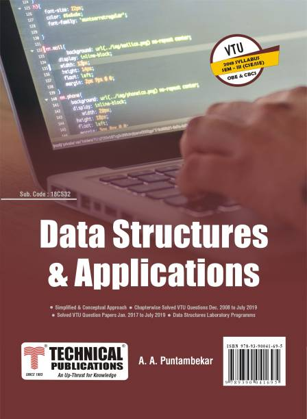 Data Structures and Applications for BE VTU Course 18 OBE & CBCS (III- CSE -18CS32)
