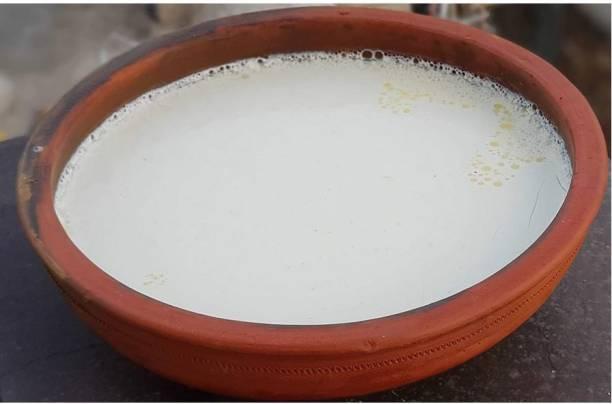 Blossoms Store Dahi Handi | Clay Curd Pot 8 Inchs Handi 0.6 L with Lid