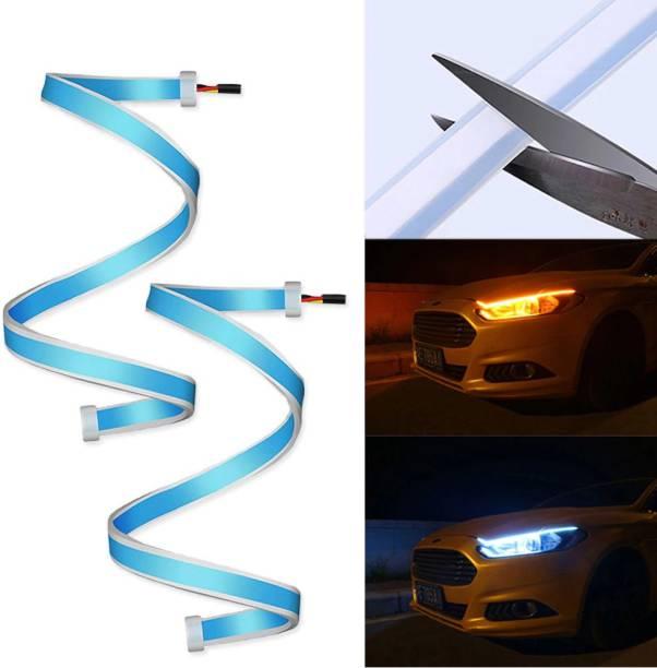 Ubee Car Led Strip for Headlight White Daytime Running Light, Turn Signal Yellow/Amber Indicator Light Lamp DRL 12V Car Fancy Lights