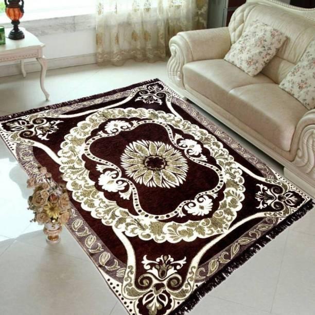 manvicreations Brown Cotton Carpet
