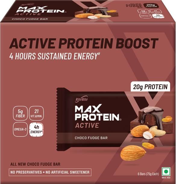 RiteBite Max Protein Active Choco Fudge Bars 450g - 6 (75g x 6)
