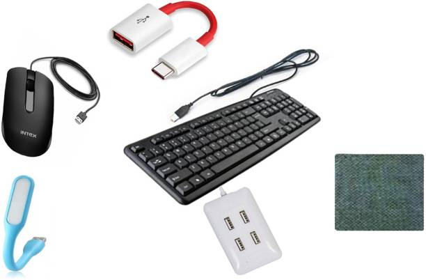 Intex WIRED STANDARD KEYBOARD SOFT TOUCH KEY LONG KEY LIFE TIME LONG CABLE BACK Wired Optical Mouse (USB 2.0, Black) USB LED Light Adjust Angle / bendable Portable Flexible USB Light with usb for power bank PC Laptop Notebook Computer keyboard outdoor Energy Saving Gift Night Book Reading Lamp 1 MOUSE PAD Type C OTG Connector 4 Port Hi-Speed USB Hub all item best quality combo set Combo Set