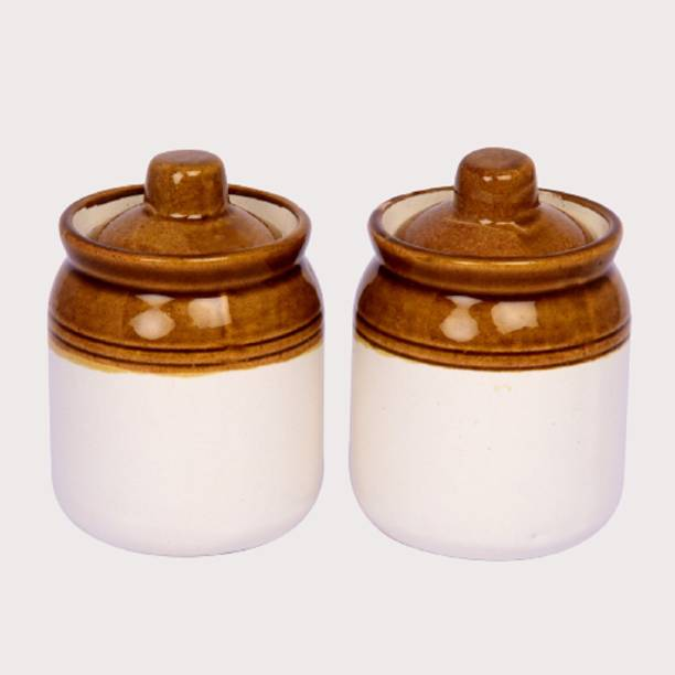 Lyallpur Stores Pickle Jar Set Of 2 Barni, Ceramic Handcrafted Storage Container, Mini Achar Barni For Dry Fruits, Spices, Pickle, Chutney, Mishree-Shauf Etc. (Dinning Table Decor)  - 250 ml Ceramic Pickle Jar