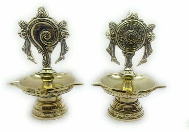 RAMA METAL VISHNU SANKH CHAKRA NAMAM BRASS DEEPAK SET Brass (Pack of 2) Table Diya Set