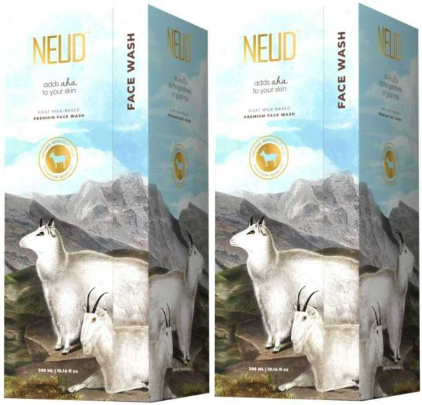 NEUD Goat Milk Premium  for Men & Women - 2 Packs (300ml Each) Face Wash