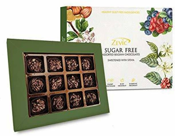 Zevic Special Hamper of Sugar Free Belgian Chocolate Sweetened with Stevia -12 Pieces Combo