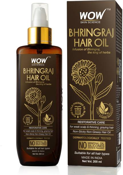 WOW SKIN SCIENCE Bhringraj Hair Oil - for Hair Restoration - for All Hair Types - Non-Sticky & Non-Greasy Hair Oil - No Mineral Oil, Silicones, Synthetic Fragrance Hair Oil