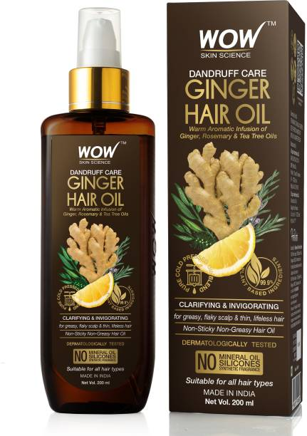 WOW SKIN SCIENCE Ginger Hair Oil - for Dandruff Care - for All Hair Types - Non-Sticky & Non-Greasy Hair Oil - No Mineral Oil, Silicones, Synthetic Fragrance Hair Oil