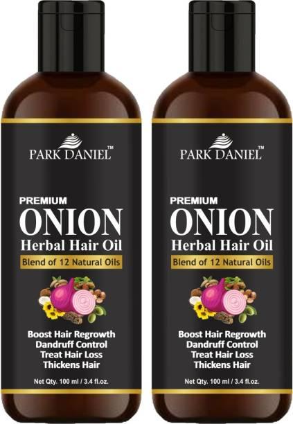 PARK DANIEL Premium ONION Herbal Hair oil- For Hair Regrowth, Anti Dandruff, Treat hair loss and Thickens hairs pack of two bottles of 100 ml(200 ml) Hair Oil