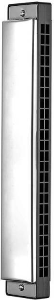 BAPC Tremolo Harmonica Performance Harmonica Mouth Organ 24 Holes 48 Tones C Key With Black Box (Silver)