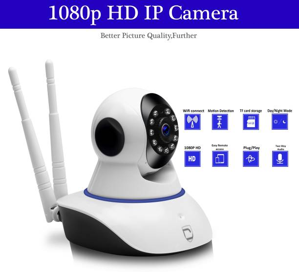 CFFTED Double Antenna Auto- Rotating Night Vision Mobile HD CCTV Wifi Camera 720P with Audio Wifi Smart Net Camera Live Streaming Video (Android/IOS) Security Camera