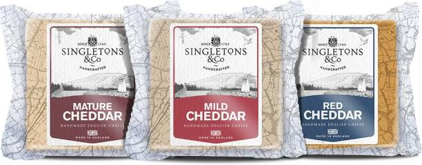Singletons & Co Mature White, Mild White And Mild Red Cheddar Cheese Combo Pack 600 g