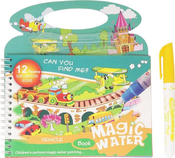 Parteet Reusable Magic Water Painting Book Magic Doodle Pen Kids Coloring Doodle Drawing Board Games Child Educational Toy / Magic Book Water Painting for Kids