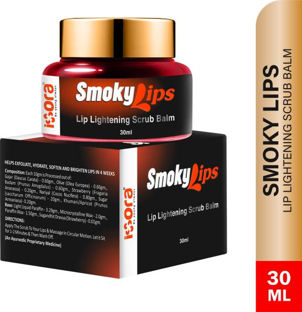 IXORA Organic Smokylips Lightening Dark Lip Balm Scrub for Men and Women, 30 g Strawberry