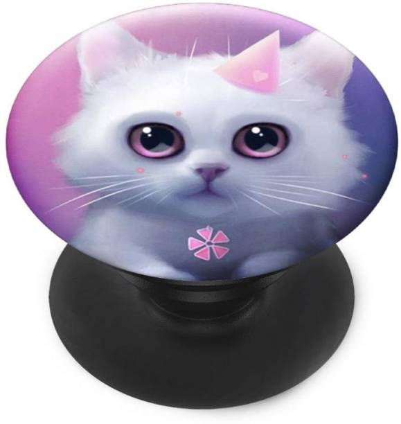 Sswastik Finger Grip/Selfie Mobile Holder, and Heart for Pink Cute Cate Mobile Holder