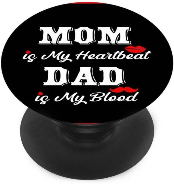 Sswastik Finger Grip/Selfie Mobile Holder, and Heart for Mom is my heartbeats, dad is my blood Mobile Holder