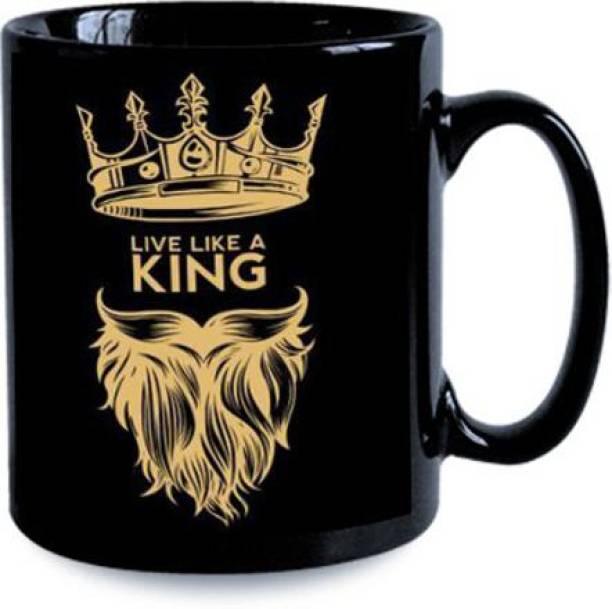 Cybe Live Like a Kind with Crown and Beard Design Printed Black Coffee for Gift Ceramic Coffee Mug