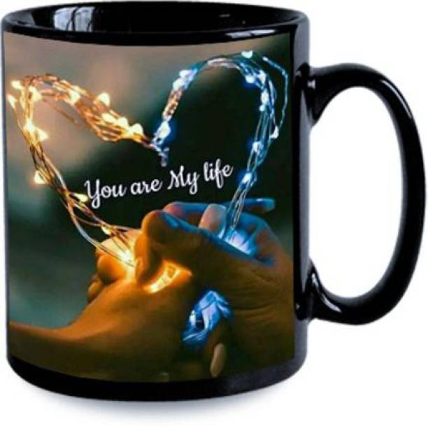 """Cybe """"You Are My Life"""" """"(Couple Heart)"""" Classic Stylish Black Coffee Gift For Friends , Lovers , Valentine's day , Anniversary Gift Black Ceramic Coffee Mug"""