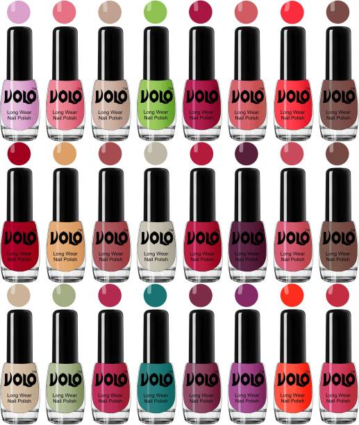 Volo Nail Polish Combo Hi-Shine Nail Enamel Set of 24 Pcs Combo-No-11 Light Purple, Light Pink, Pink Nude, Parrot Green, Moon Magenta, Peach Crush, Carrot Red, Dark Nude, Red, Flirty Nude, Tan, Ice Nude, Coral Compass, Wine Maroon, Pink Mania, Dark Nude, Nude, Mischievous Mint, Passion Pink, Radium Green, Peach Pink, Bright Plum, Coral, Light Pink