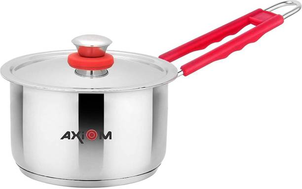 AXIOM Saucepan 2 Litre with Lid Triply Stainless Steel. Induction & Gas Compatible Milkpan/Teapan with Silicon Staycool Handle & Sandwich Capsule Bottom. 18.5 cm, 2000 ML Sauce Pan 19 cm diameter with Lid