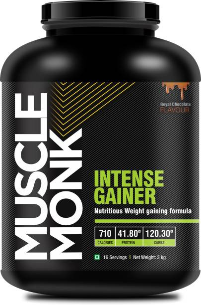 MuscleMonk Mass Gainer with 120.3 G Carbs 710 kcal 41.8 G protein Chocolate Flavor 3 Kg / 2.2 Whey Protein