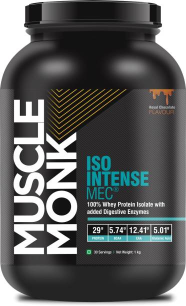 MuscleMonk ISO Intense MEC Whey Isolate Protein with Digestive Enzymes Royal Chocolate - 1kg Whey Protein