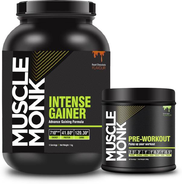 MuscleMonk Gainer with 41.8G protein Chocolate Flavor 1 Kg   Pre-Workout Green Apple 300g Whey Protein