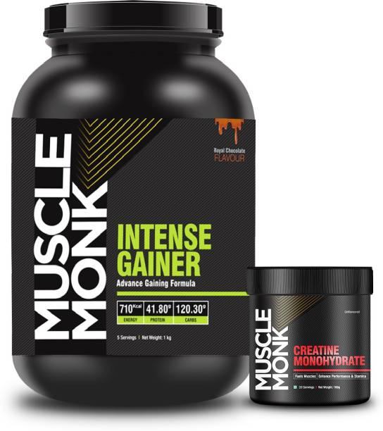 MuscleMonk Intense Gainer Chocolate 1 Kg   Creatine Monohydrate 100g Combo Weight Gainers/Mass Gainers