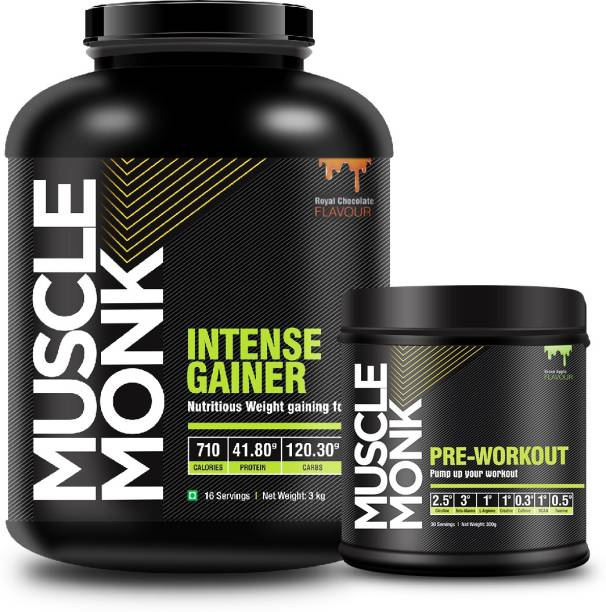 MuscleMonk Gainer with 41.8 G protein-Chocolate Flavor-3 Kg with Pre-Workout Green Apple Whey Protein