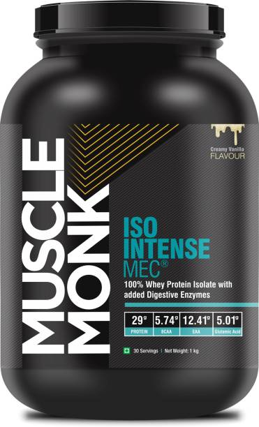 MuscleMonk ISO Intense MEC® Isolate Protein with Digestive Enzymes   Creamy Vanilla - 1kg Whey Protein