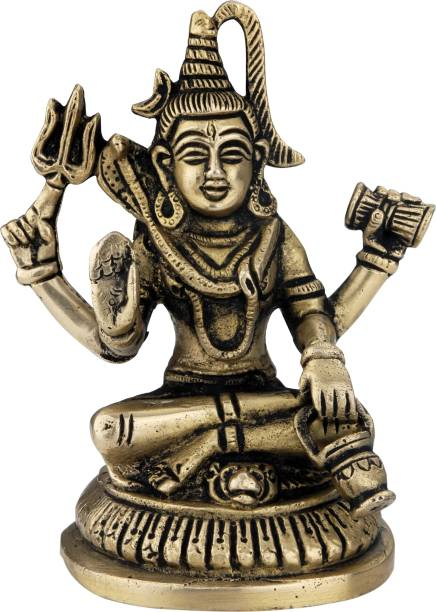 Alic Brass Lord Shiva brass statue Shiva murti Brass Decorative Showpiece  -  4 cm