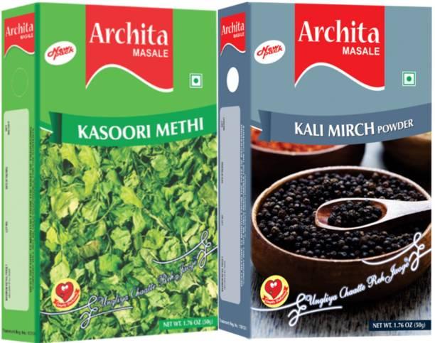 Archita Kasoori Methi(50 gram) & Kali Mirch Powder(50 gram) Pack of 2