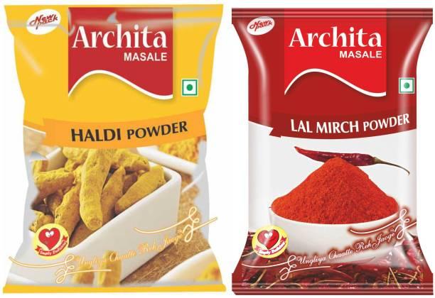 Archita Haldi Powder(100 gram) & Lal Mirch Powder(100 gram) Pack of 2 Pouch