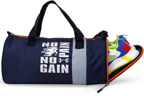 Feminoor Navy Blue Separate Shoe Compartment Sports Duffel Gym Bag