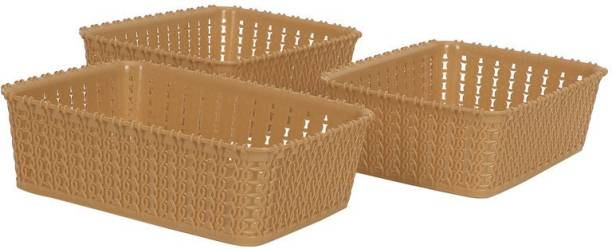 Cutting EDGE Pack Of 3   Mini   Beige   Without Lid Multipurpose Sturdy Woven Storage Baskets For Kitchen   Office   Stationery   Cosmetics   Accessories Baskets Storage Basket