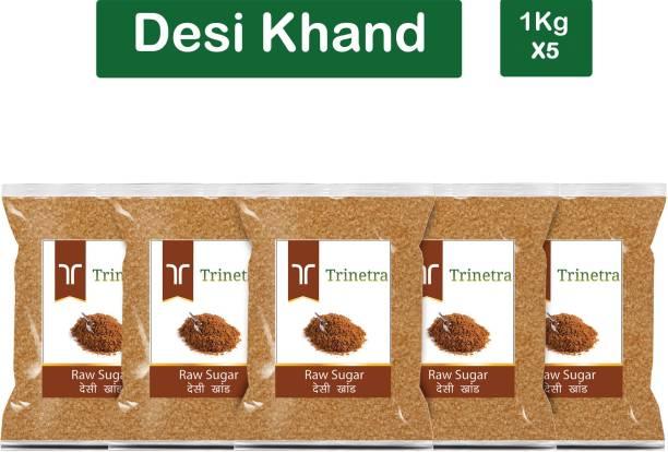 Trinetra Best Quality Desi Khand (Raw Sugar)-1Kg (Pack Of 5) Sugar