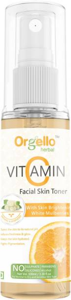 orgello Herbal Vitamin C Spary Mist toner for face skin whitening pigmentation and deep cleansing & Anti acne & pimples (1 x 100 ml) - Vitamin C, Vitamin B3, Apple cider vinegar, White Mulberries, Liquorice, Cucumber, Aloe Vera, Rosemarry, Chamomile, Tea Tree, Tomato - SLS Parabens Silicone Free for men women girls boys for all types of skin (normal, dry, oily) Men & Women