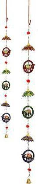 R V HOME DECOR elephant wall hanging wind chime Wood, Paper Windchime