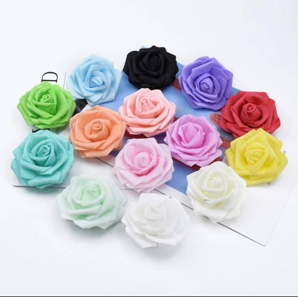 Siddhivinayak Home & Garden Foam Artificial Flower Roses (MultiColour 6 cm) - 50 Piece Multicolor Rose Artificial Flower