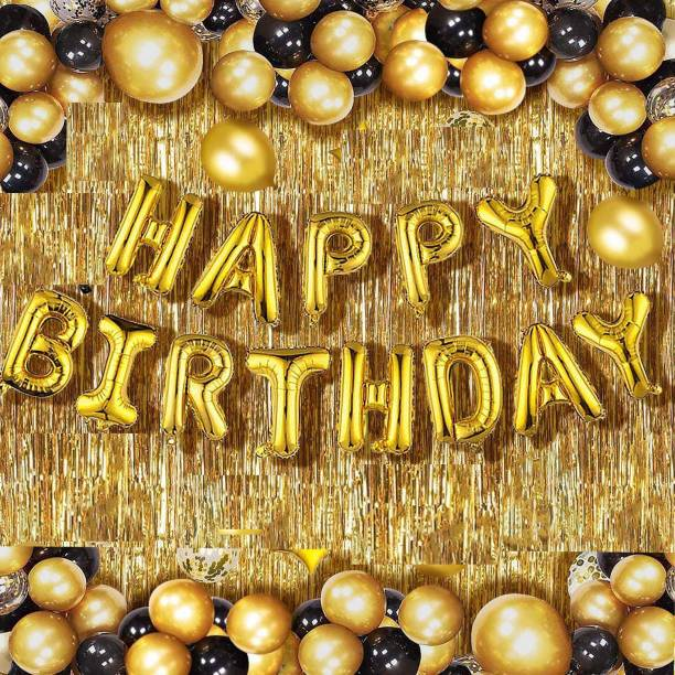 Devansh enterprises Solid Happy Birthday Golden Foil Letter Balloons(13 foil latter 1 pack)With 30 Pic Black Gold Balloons And 2 Pcs Golden Metallic Fringe Shiny Curtains(Pack Of 45) Balloon