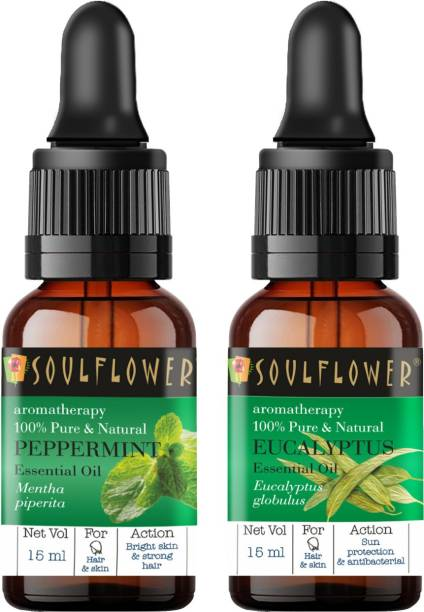 Soulflower Eucalyptus Essential Oil 15ml & Peppermint Essential Oil 15ml (30 ml)| 100% Pure, Natural and Undiluted for Hair, Skin and Face