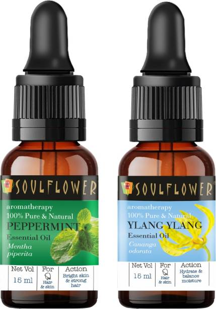 Soulflower Ylang Ylang Essential Oil 15ml & Peppermint Essential Oil 15ml (30 ml)| 100% Pure, Natural and Undiluted for Hair, Skin and Face