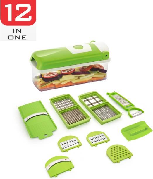 network 12 IN 1 Multipurpose Vegetable and Fruit Chopper Cutter Grater Slicer, Green Vegetable & Fruit Chopper