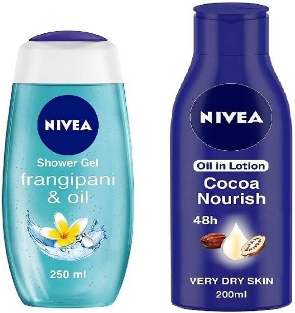 NIVEA Body Lotion, Nourishing Body Milk, For Very Dry Skin, 200ml & Shower Gel, Frangipani & Oil Body Wash,250ml