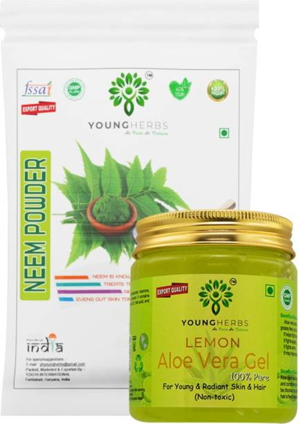 Young Herbs Organic Pure Natural Lemon Aloevera Gel & Neem Powder Combo for Face, Hair and Skin Care (100 Gram, 200ml)