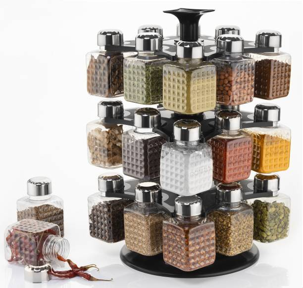 Romax 24 Jar 360 Degree Revolving Woman's 1st Choice New Premium Quality Square Shape Transparent Spice Rack, Masala Box, Dray fruit container Fridge Container, Tea Coffee & Sugar Container, Spice Box - 250 ml 24 Jar Spice Container With Steel Cap Black Color 1Set 1 Piece Spice Set